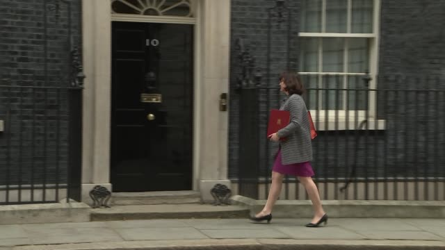 cabinet ministers arrive at no10 downing street england london downing street ext arrivals at no10 julian smith mp / amber rudd mp / philip hammond... - 10 downing street stock videos and b-roll footage