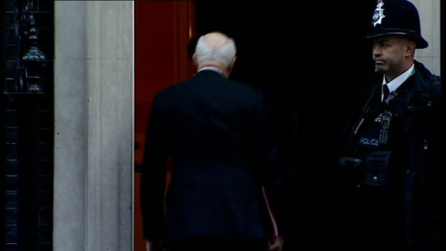 Cabinet Ministers Arriving at 10 Downing Street ENGLAND London Westminster Downing Street EXT GVs car arriving and Theresa May MP getting out and...