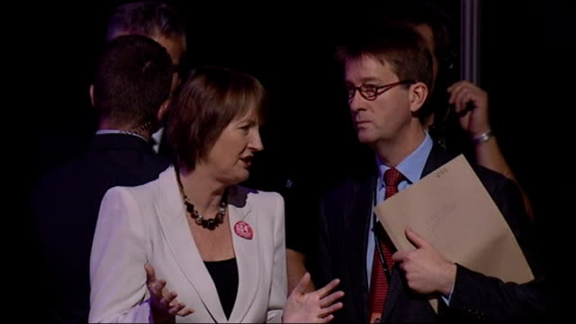cabinet ministers at labour party conference; darling, brown, harman and douglas alexander mp , more of harman chatting/ general view conference... - douglas alexander stock videos & royalty-free footage