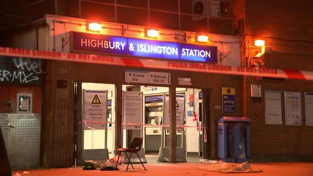 Cabinet ministers defend the Government record on street crime ENGLAND London Highbury Islington Station Police officer standing behind red police...