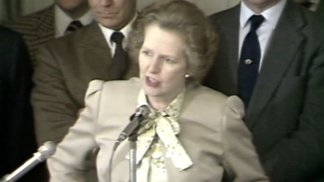 miners' strike / government 'pit closure plan' lib banbury int margaret thatcher speech sot you saw the scenes that went on on television last night... - miner stock videos and b-roll footage