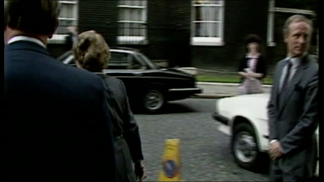 miners' strike / government 'pit closure plan' 1984 london downing street ext margaret thatcher mp crossing downing street towards number 10 may /... - miner stock videos & royalty-free footage
