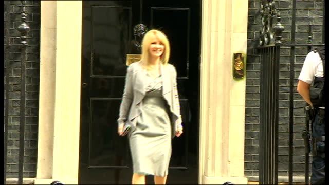 arrivals and departures at downing street; england: london: downing street: ext baroness stowell departing number 10 / esther mcvey mp departing /... - 男爵夫人点の映像素材/bロール