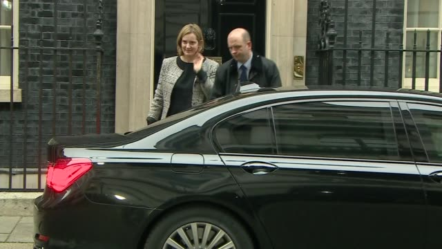 Downing Street arrivals and departures Amber Rudd departs in car / Sajid Javid MP along into No 10 / Boris Johnson MP along into No 10 / Greg Clark...
