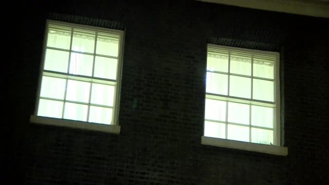 Close shot of 10 Downing Street fron foor Illuminted windows of Number 10 Wide shot of 10 Downing Street