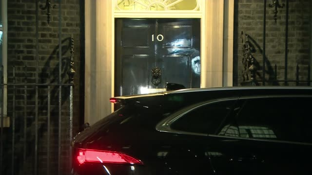 London Downing Street Wide shot of 10 Downing Street Close shot of lit windows of Number 10 seen through net curtains/ ** FLASHLIGHT PHOTOGRAPHY **...