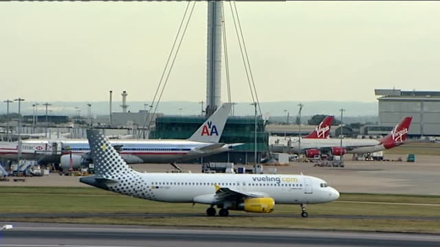 vox pops sot heathrow airport various of aircraft taxiing and taking off at the airport london int steve ridgeway interview sot ministerial jaguar... - patrick mcloughlin stock videos and b-roll footage