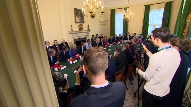 meeting interiors; england: london: westminster: downing street: int gvs cabinet ministers at meeting including boris johnson mp , rishi sunak mp ,... - prime minister stock-videos und b-roll-filmmaterial