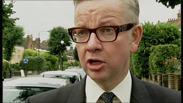 michael gove interview; england: london: ext michael gove mp interview sot - on william hague's resignation / cabinet reshuffle - 内閣改造点の映像素材/bロール