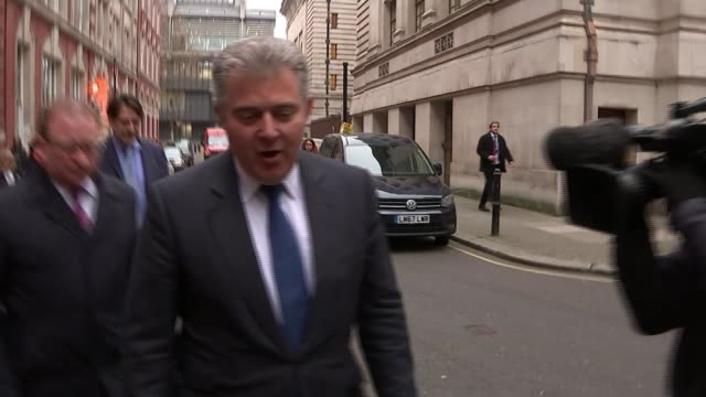 Conservative Party Headquarters Brandon Lewis MP along street with others comments to reporters he is 'honoured and looking forward to getting on...