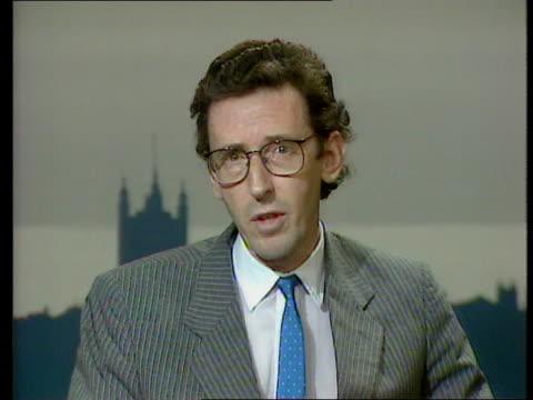 reaction:; england: london: westminster studio: cms david howell mp intvwd sof - criticises govt's press service downing st: ext sir geoffrey howe... - douglas hurd stock-videos und b-roll-filmmaterial