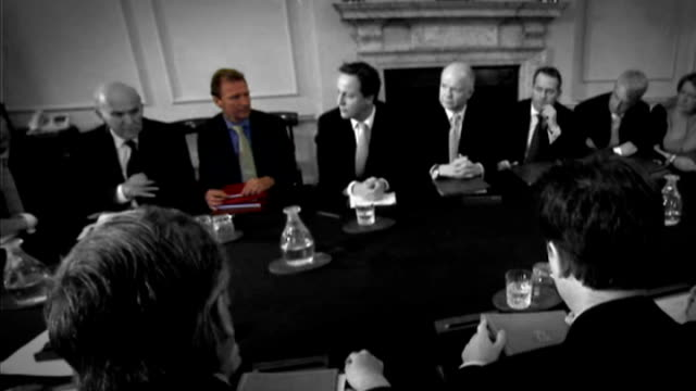 cabinet table freeze frame and highlight cabinet members - vince cable mp / gus o'donnell / cameron / william hague mp / dr liam fox mp / george... - vince cable stock videos & royalty-free footage