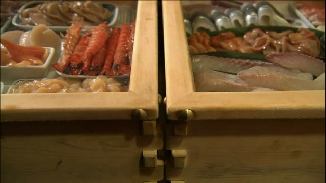 cabinets in a sushi shop display sushi. - nigiri stock videos and b-roll footage