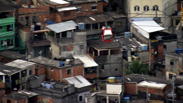cable car across a favela  - aerial view - rio de janeiro, rio de janeiro, brazil - favela stock videos and b-roll footage