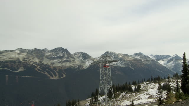 WS Cable car approaching Whistler mountain station / Whistler, British Columbia, Canada