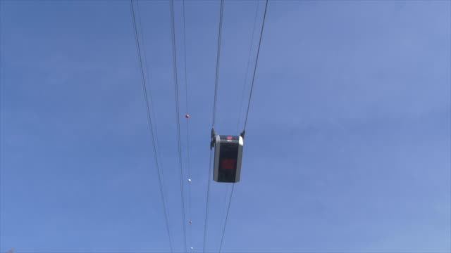 cable car at alba in winter, province of trento, italy, europe - canazei video stock e b–roll