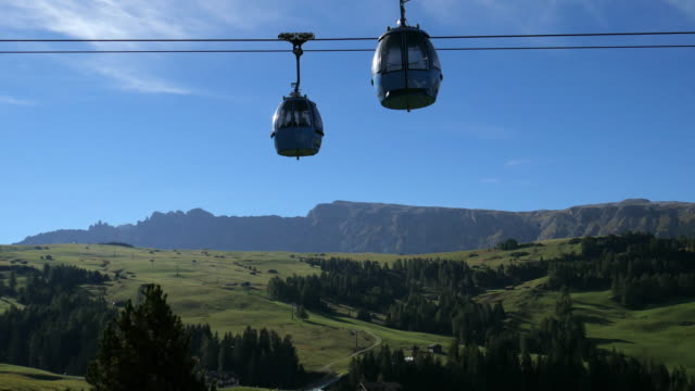 cable car at alpe di susi seiser alm , dolomites italy - ski lift point of view stock videos & royalty-free footage