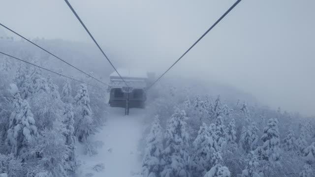 日本の高角視野の冬から美しい風景雪の丘で下るケーブルカー - スキー板点の映像素材/bロール