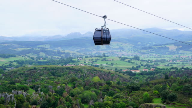 A cable car in Cabárceno Natural Park, Pisueña Valley, Municipality of Penagos, Cantabria, Spain, Europe