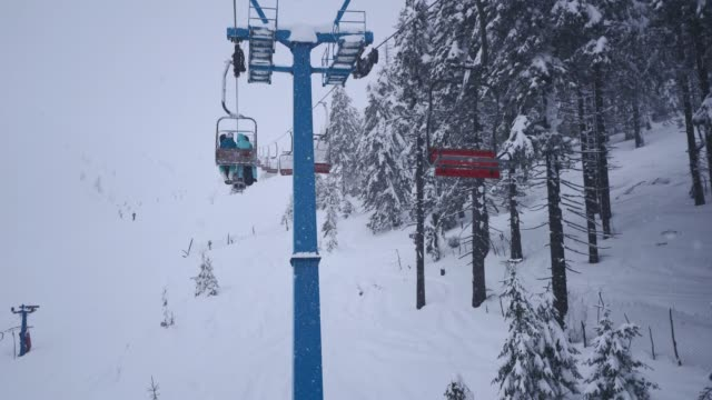 cable car in carpathian mountains in winter - ski lift stock videos & royalty-free footage