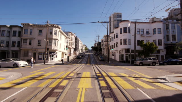 POV Cable Car in San Francisco up on Powell St. in real time
