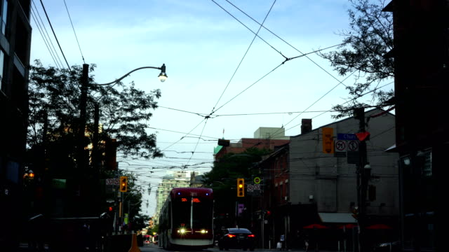 cable car in toronto city downtown - tram stock videos & royalty-free footage