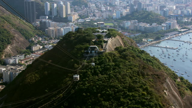 vídeos de stock, filmes e b-roll de a cable car leaves the platform of sugarloaf mountain as a second car approaches the platform. - cable