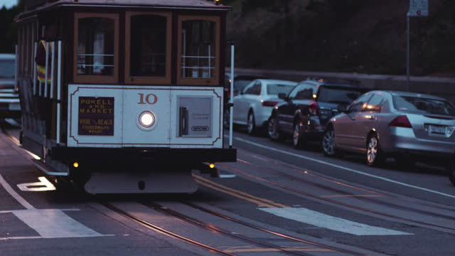 cable car on san francisco hillside - general motors stock videos & royalty-free footage