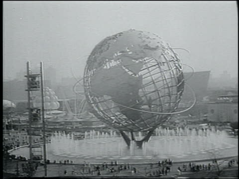 B/W 1964 cable car point of view of Unisphere at NY World's Fair