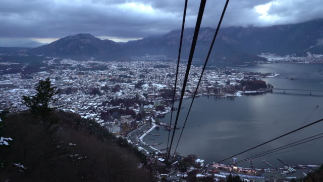 Cable car riding and aerial view of Fujikawaguchiko Kawaguchi lake Japan
