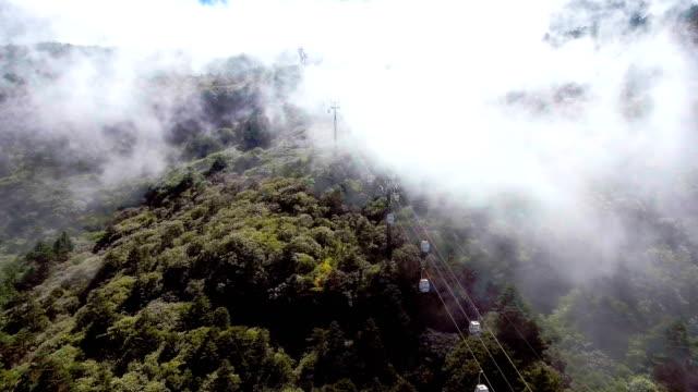 vídeos y material grabado en eventos de stock de teleférico en la montaña con niebla que fluye, jiaozi mountaions, provincia de yunnan, china - colina