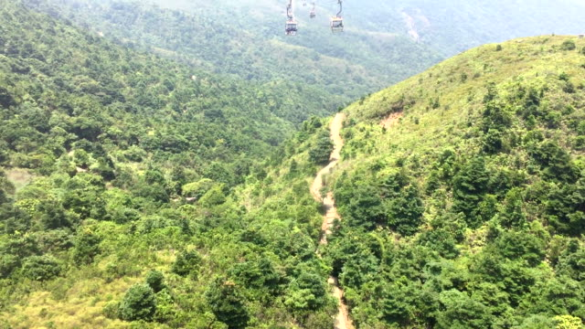 hd : cable car to ngong ping village , honk kong - lantau stock videos and b-roll footage