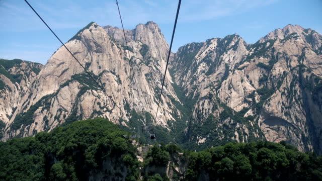 vidéos et rushes de téléphérique au sommet du mont hua - unesco