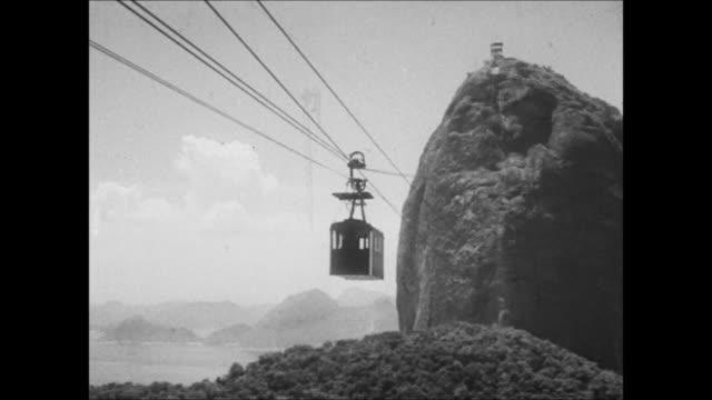 cable car to sugar loaf mountain, rio de janeiro, brazil - overhead cable car stock videos & royalty-free footage