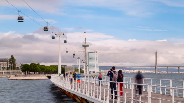 tl ws cable car to torre vasco da gama, lisbon - overhead cable car stock videos and b-roll footage