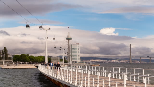 ws cable car to torre vasco da gama, lisbon - overhead cable car stock videos and b-roll footage