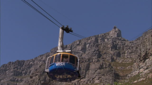 A cable car travels up Table Mountain in South Africa. Available in HD