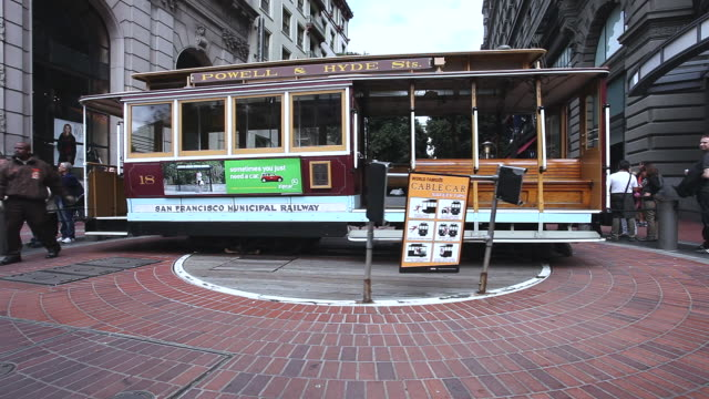 ms cable car turnaround in city / san francisco, california, united states - information symbol stock videos and b-roll footage