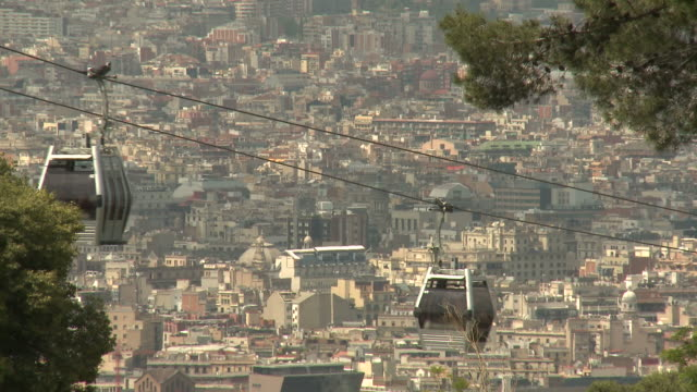 cable cars of montjuic mountain, barcelona - overhead cable car stock videos & royalty-free footage