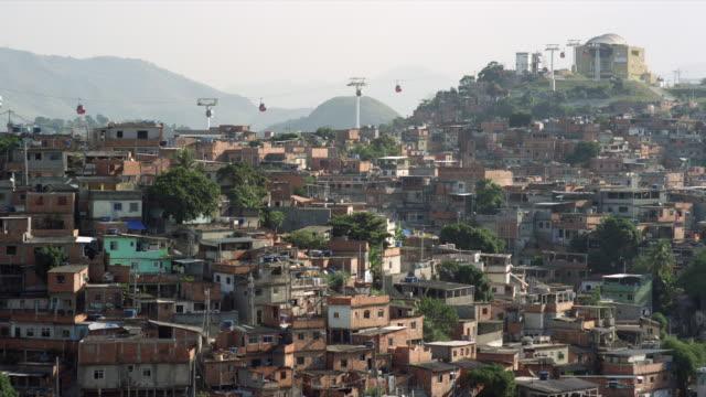Cable cars operating above Complexo do Alemão favelas in Rio de Janiero