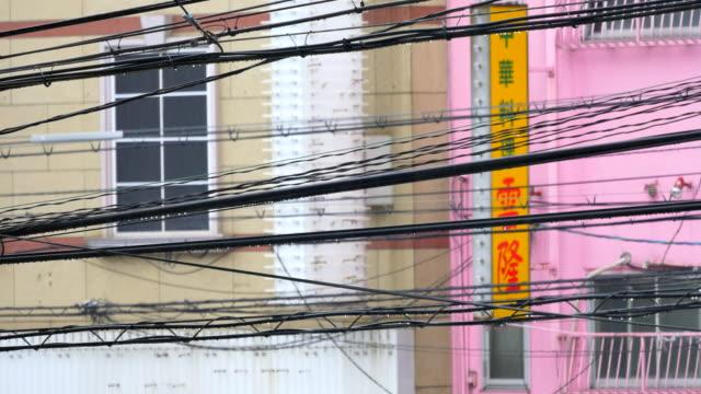 vídeos de stock e filmes b-roll de cabo de electricidade publicar no dia chuvoso - emaranhado