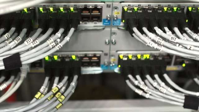 hub cable network close-up (tilt up) - mainframe stock videos and b-roll footage