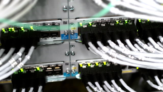 hub cable network tilt up - computer cable stock videos and b-roll footage