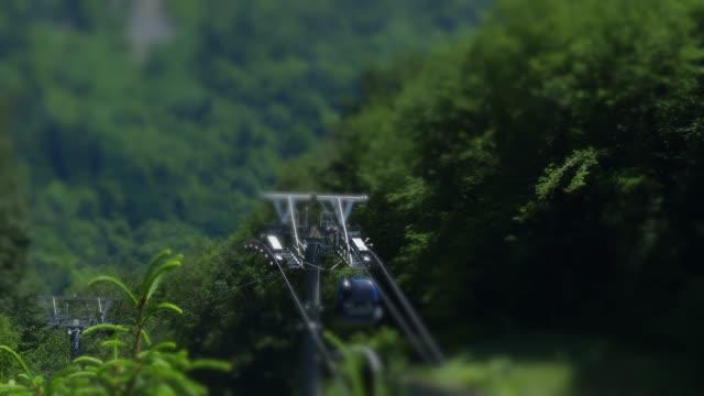 vídeos y material grabado en eventos de stock de camino de cable en las montañas - tilt shift