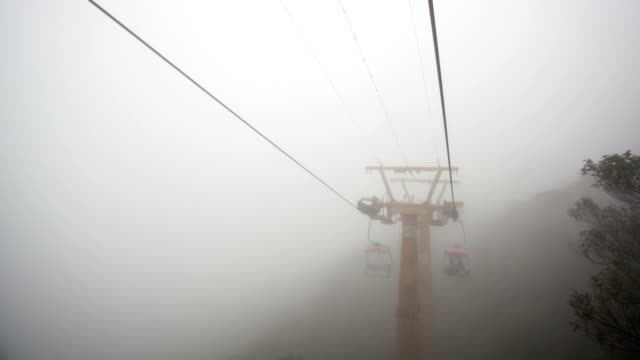 t/l ws cable sightseeing at rainy day - ski lift point of view stock videos & royalty-free footage