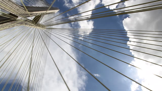 cable- stayed bridge -  driving under the bridge, sao paulo, brazil - below stock videos and b-roll footage