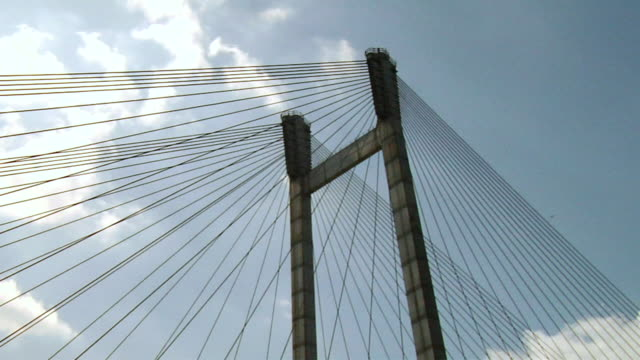 ms cable stayed of vidyasagar setu bridge  / kolkata, west bengal, india  - cable stayed bridge stock videos & royalty-free footage