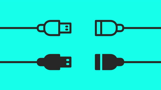 usb cable - vector animate - interconnect plug stock videos & royalty-free footage