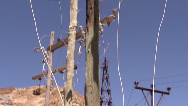 cables dangle from utility poles. available in hd. - telegraph pole stock videos and b-roll footage