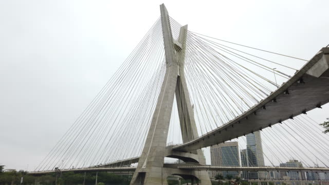 cable-stayed bridge and marginal pinheiros at sao paulo city - cable stayed bridge stock videos & royalty-free footage